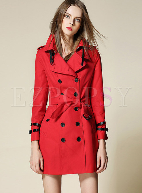 Solid Color Belted Slit Slim Trench Coat