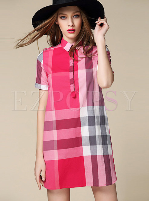 Fashion Lapel Plaid Tied A Line Dress