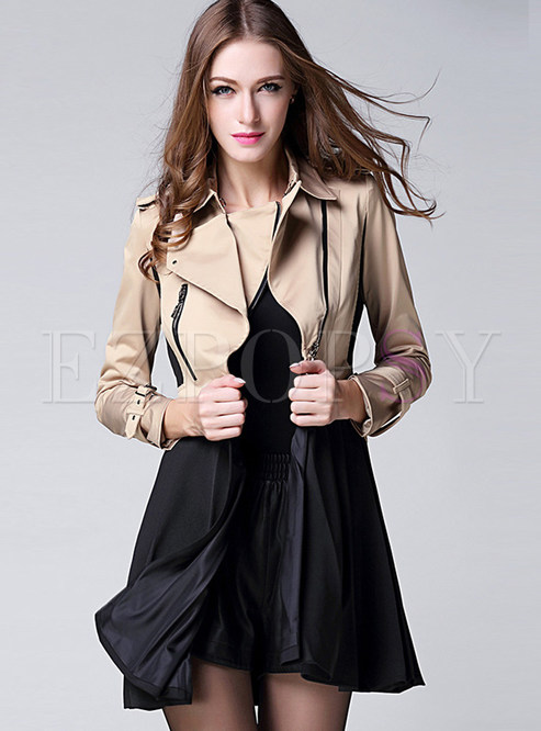 Stylish Color-blocked Splicing Big Hem Trench Coat