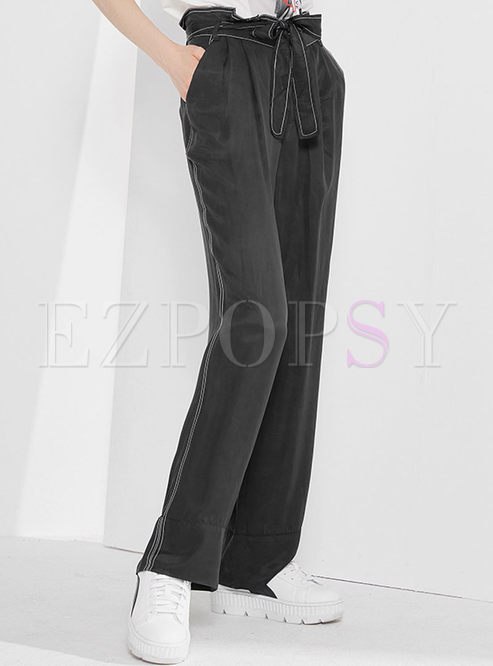 Pure Color Tied Wide Leg Pants