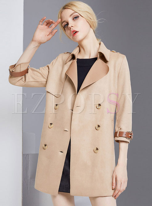 Three Quarters Sleeve Double-breasted Notched Belted Trench Coat