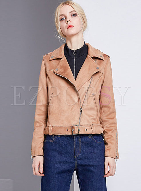 Chic Solid Color Notched Zippered Short Coat