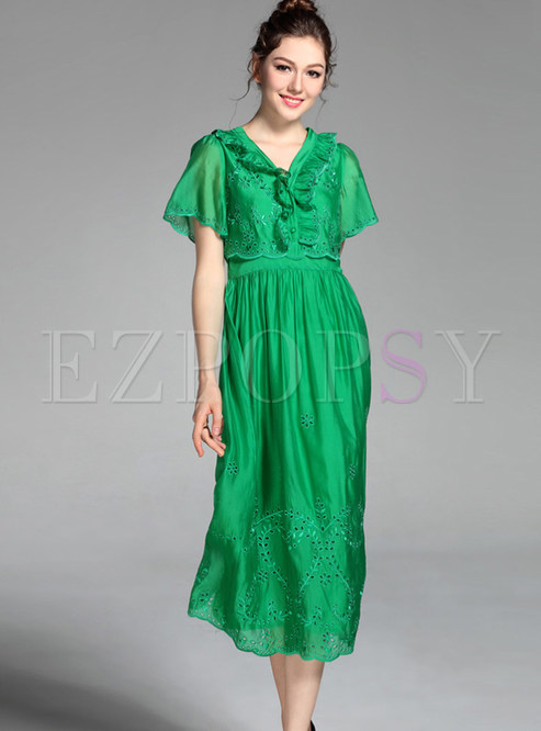 ca7630c3d8c2 Skater Dresses.   Green Short Sleeve ...