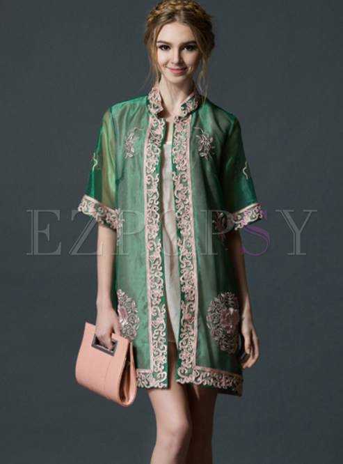 Vintage Standing Collar Embroidered Shift Dress