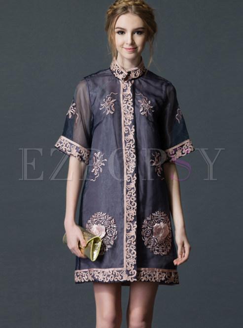 Ethnic Mesh Half Sleeve Zip-up Dress