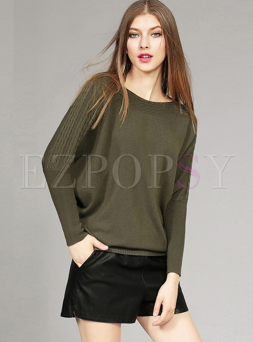 Pure Color Bat Sleeve Pullover Loose Sweater