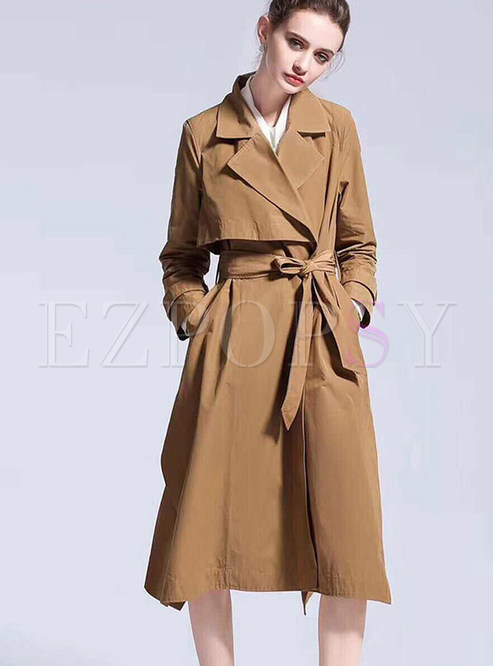 Trendy Notched Tie-waist Slit Trendy Coat