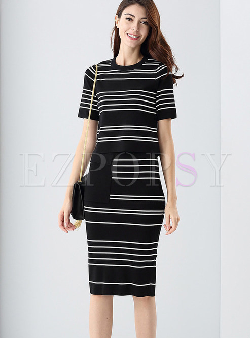 Short Sleeve Slim Striped Two Piece Outfits