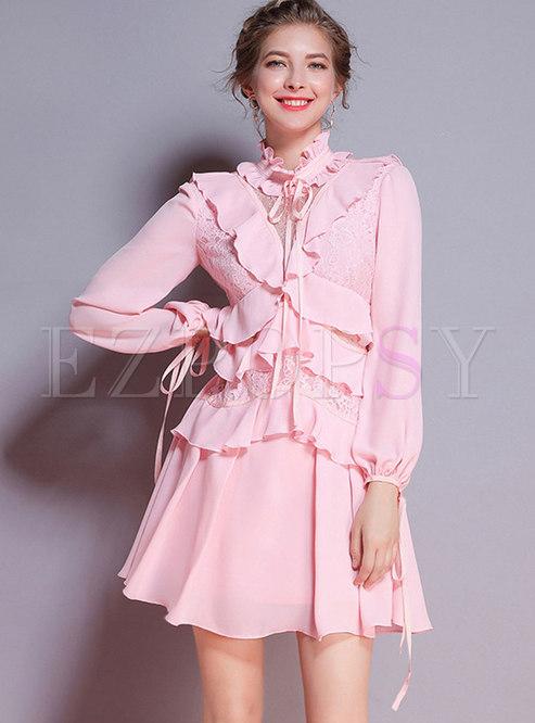 Fashionable Stand Collar Falbala Lace-paneled Dress