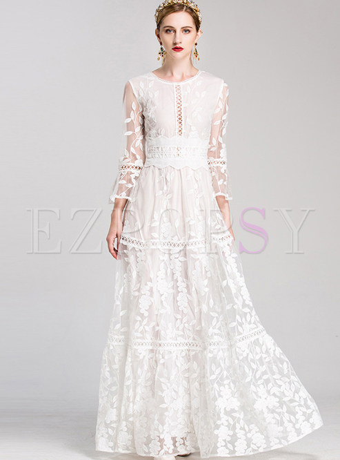 5a55ad06bf Maxi Dresses.   Mesh Flare Sleeve Embroidered Pure Color ...
