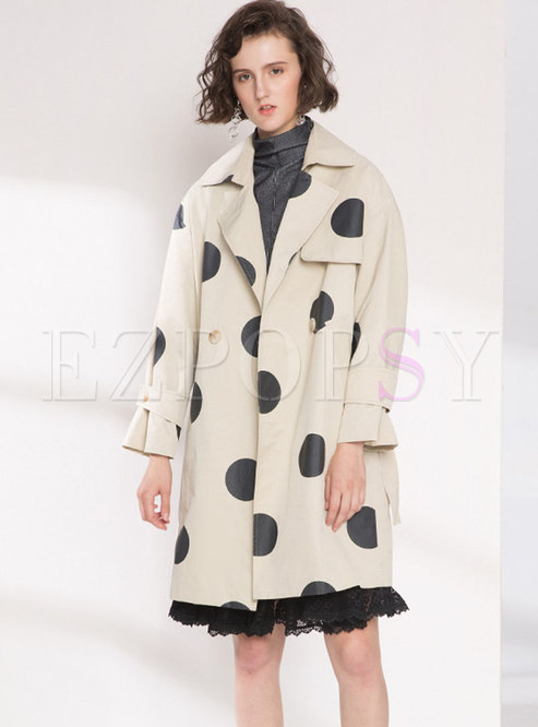 Vintage Turn-down Collar Dots Trench Coat With Pockets