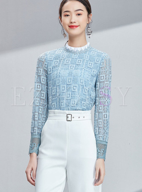 Blue Stand Collar Lace-paneled Hollow Out Blouse
