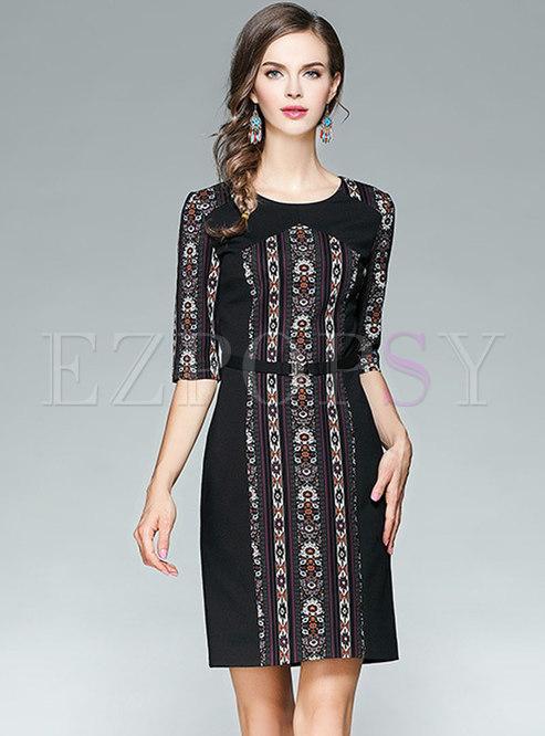 Elegant Black Printed Self-Tie Sheath Dress
