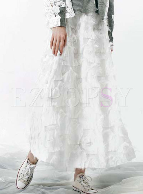 White Tassel Patch High Waist A Line Skirt