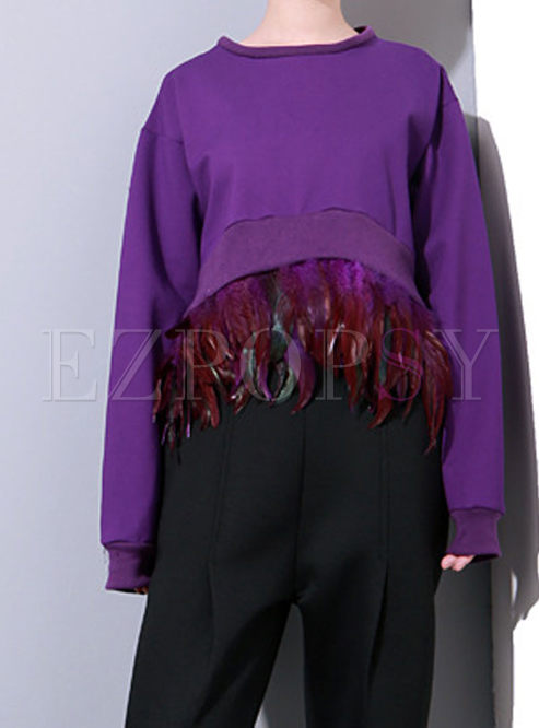 Solid Color Asymmetric Loose Sweatshirt With Feathers