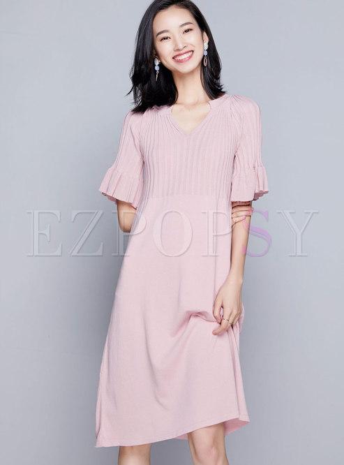 V-neck Ruffled Sleeve Plus Size Knitted Dress