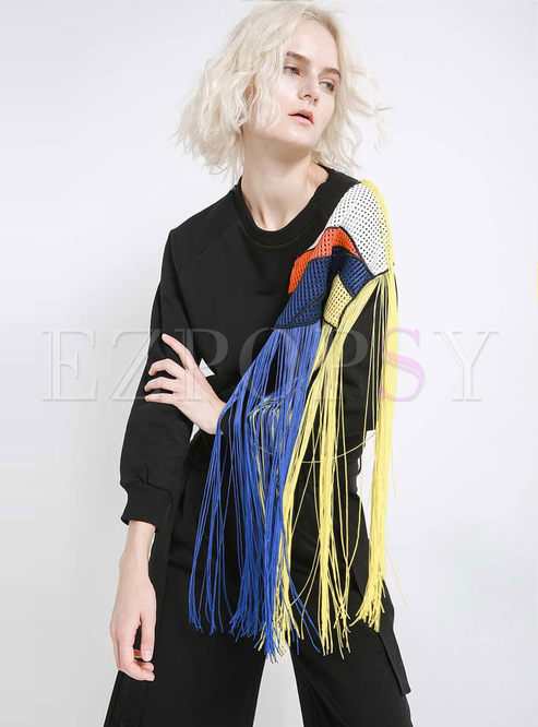 Color-blocked Splicing Tassel Patch Loose Sweatshirt