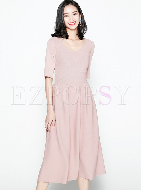 Vintage Half Sleeve High-rise Knitted A Line Dress