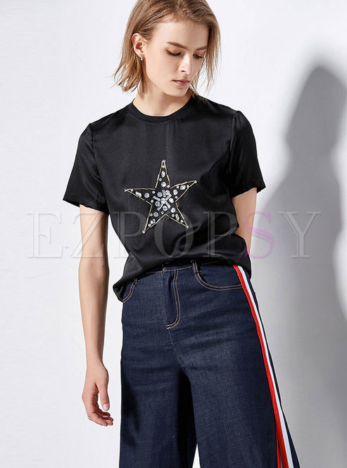 Casual Black Star Drilling O-neck T-shirt