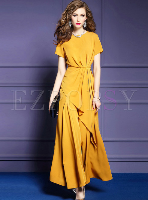 Fashion Waist Asymmetric Top & Wide Leg Pants