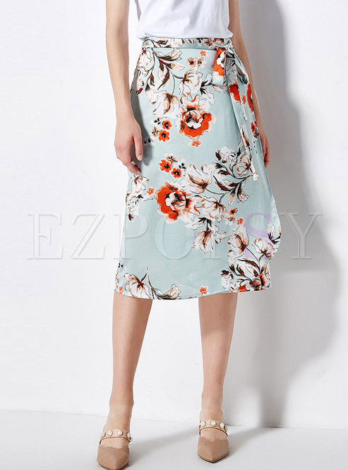 Trendy Print High Waist Tied Slit Skirt