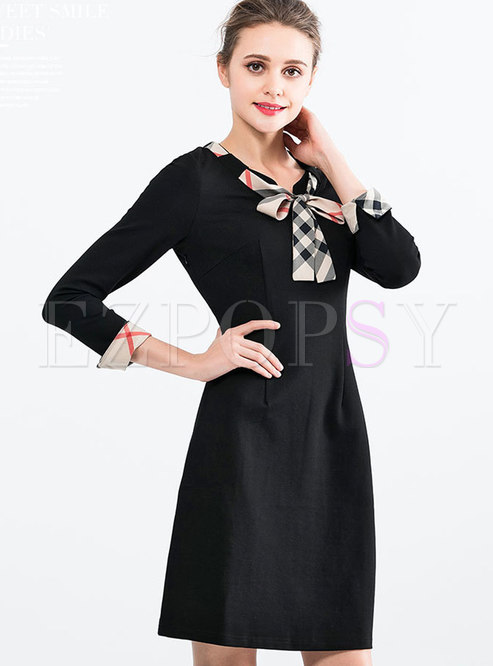 Tie-neck Bowknot Solid Color Stereoscopic Skater Dress