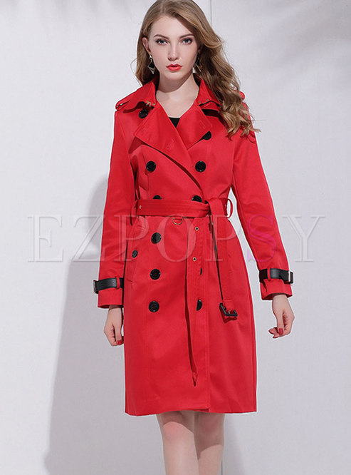 Red Double-breasted Trench Coat With Belt