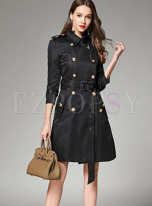 Fashion Black Metal Double-breasted Lapel Trench Coat