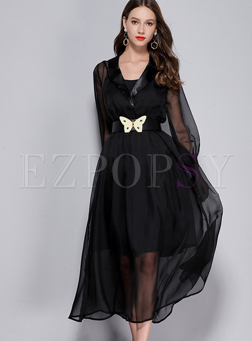 Sexy Black Gauze Long Sleeve Maxi Dress With See-through Look