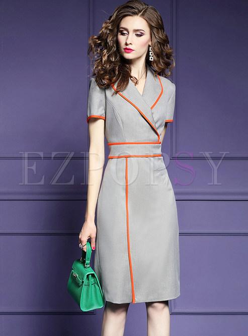 Notched Short Sleeve Waist Slit Sheath Dress