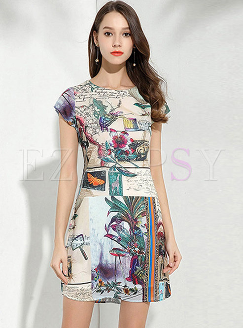 Retro Court Print Peacock Pattern Zippered Dress