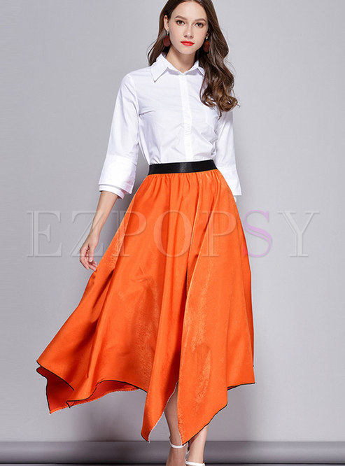 Brief White Blouse & Orange Asymmetric Maxi Skirt