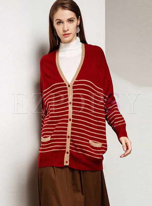 Striped Single-breasted V-neck Loose Sweater