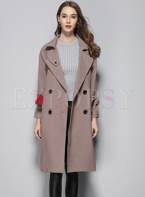 Fashion Notched Lapel Straight Splicing Trench Coat