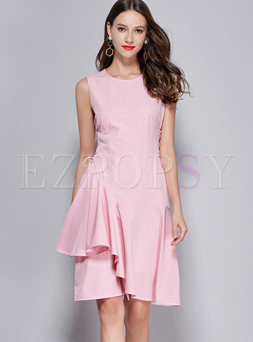 Pink Sleeveless Gathered Waist Asymmetric Dress With Drawstring