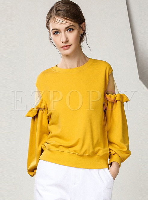 Chic Splicing Lantern Sleeve Perspective Sweatshirt