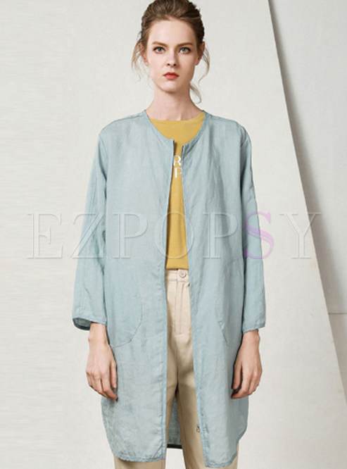 Solid Color O-neck Pocket Zip-up Thin Coat