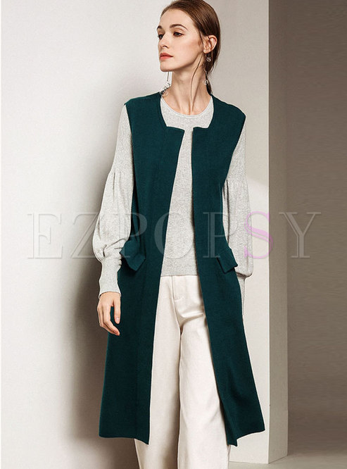 8bab84158f0fd8 Vests.   Trendy Green Sleeveless Loose Vest Knitted Cardigan