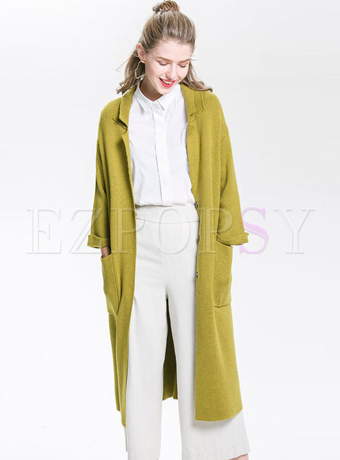 Yellow V-neck Knitted Cardigan With Pockets