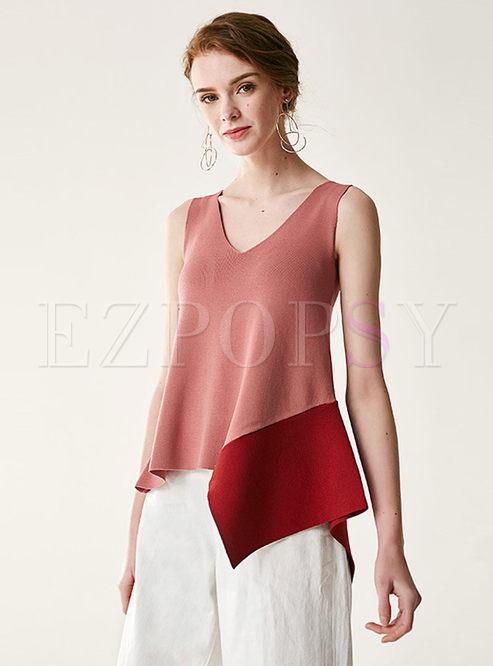Chic Asymmetric Splicing V-neck Sleeveless Knitted Cami