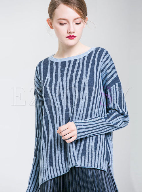 Striped Mock Neck Asymmetric Hem Slit Knitted Sweater