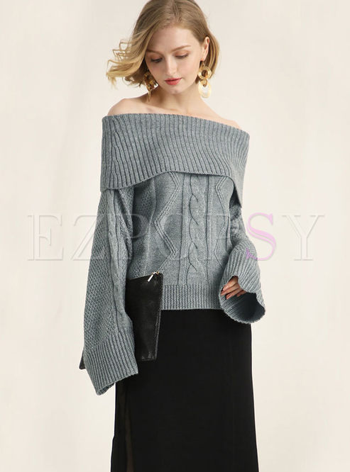 Sexy Pure Color Slash Neck Knitted Sweater
