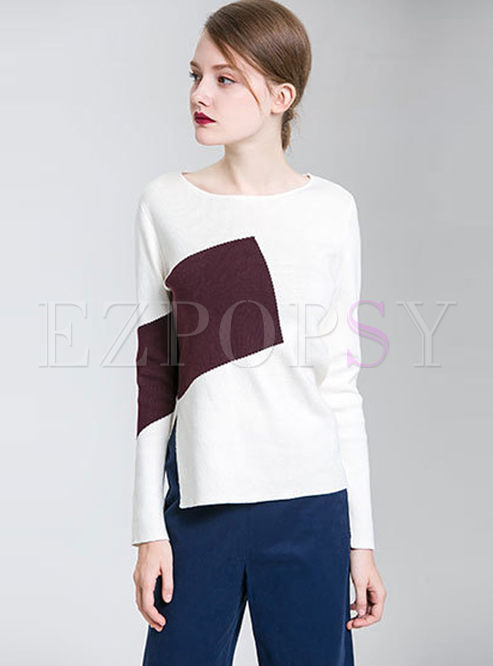 Color-blocked Asymmetric Slit Knitted Sweater