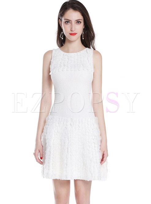 White Ruffled High Waist Knitted Dress & Short Coat