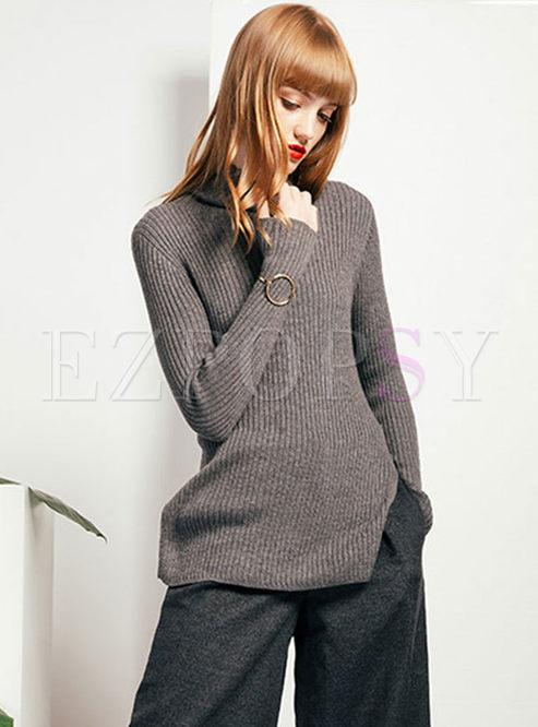 Solid Color Tutleneck Slit Knitted Sweater