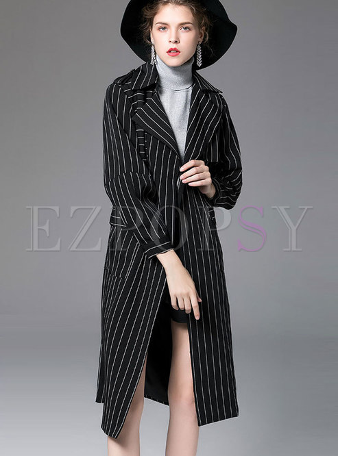 Brief Black Lapel Striped Asymmetric Straight Trench Coat