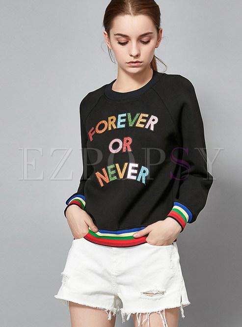 Long Sleeve Multicolor Hem Letter Print Sweatshirt