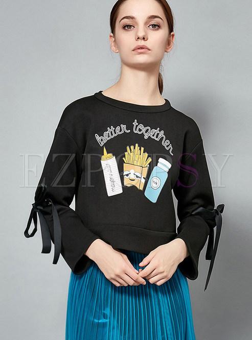 Black O-neck Loose Print Tied Sweatshirt