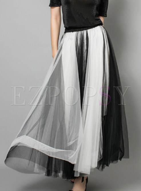 Fashion Mesh Elastic Waist Big Hem Maxi Skirt