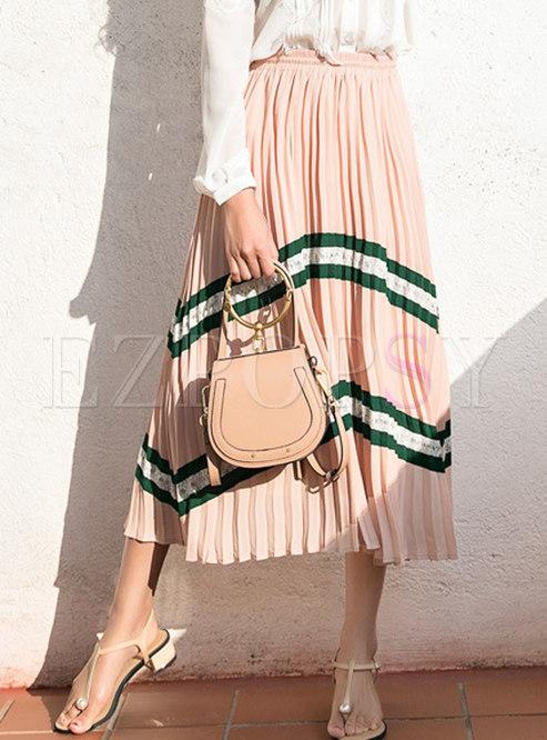 Bohemia Pink High-rise Splicing Pleated Chiffon Skirt